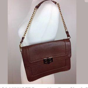 Rebecca Minca brown handbag purse gold hardware